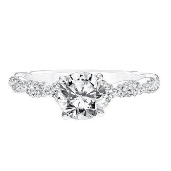Diamond Prong Set Engagement Ring with Twisted Diamond Shank