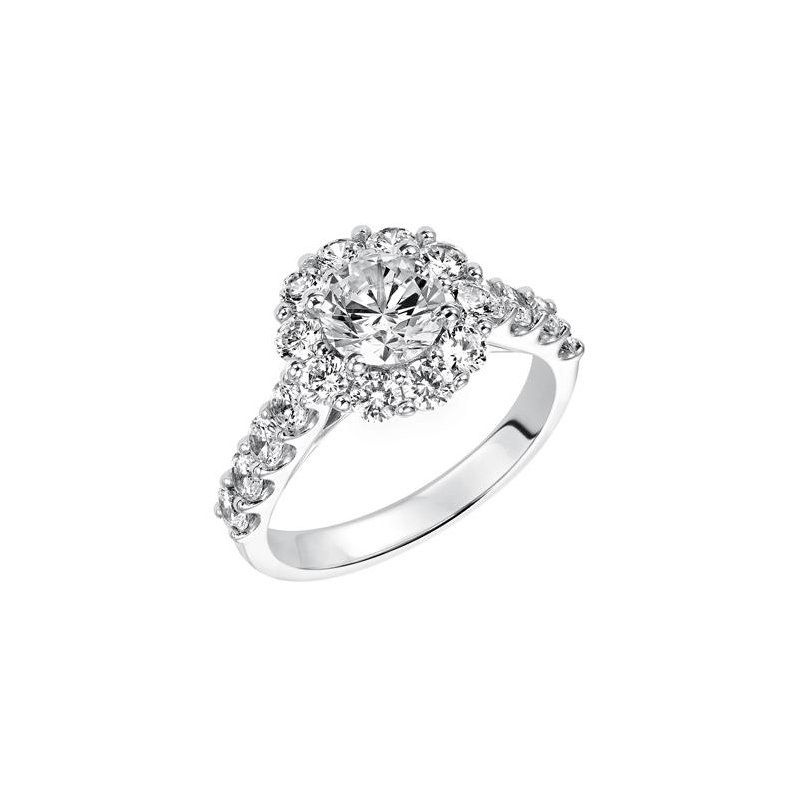 Classic shared prong diamond halo and band