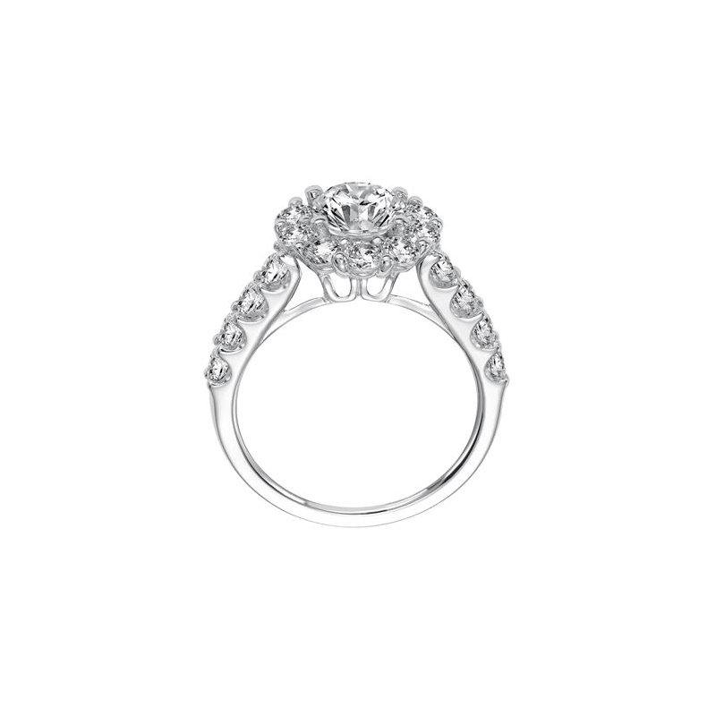 Classic shared prong diamond halo and band