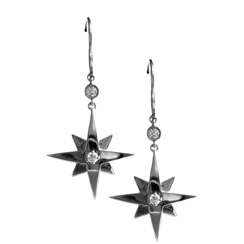 White Gold Star Earrings with Diamonds