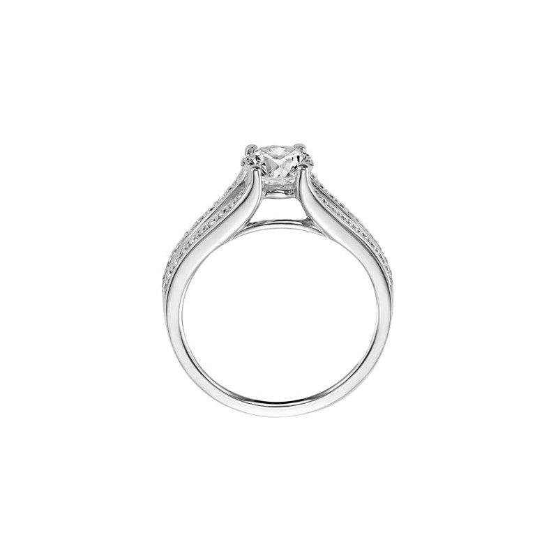 Double Row Diamond Engagement Ring
