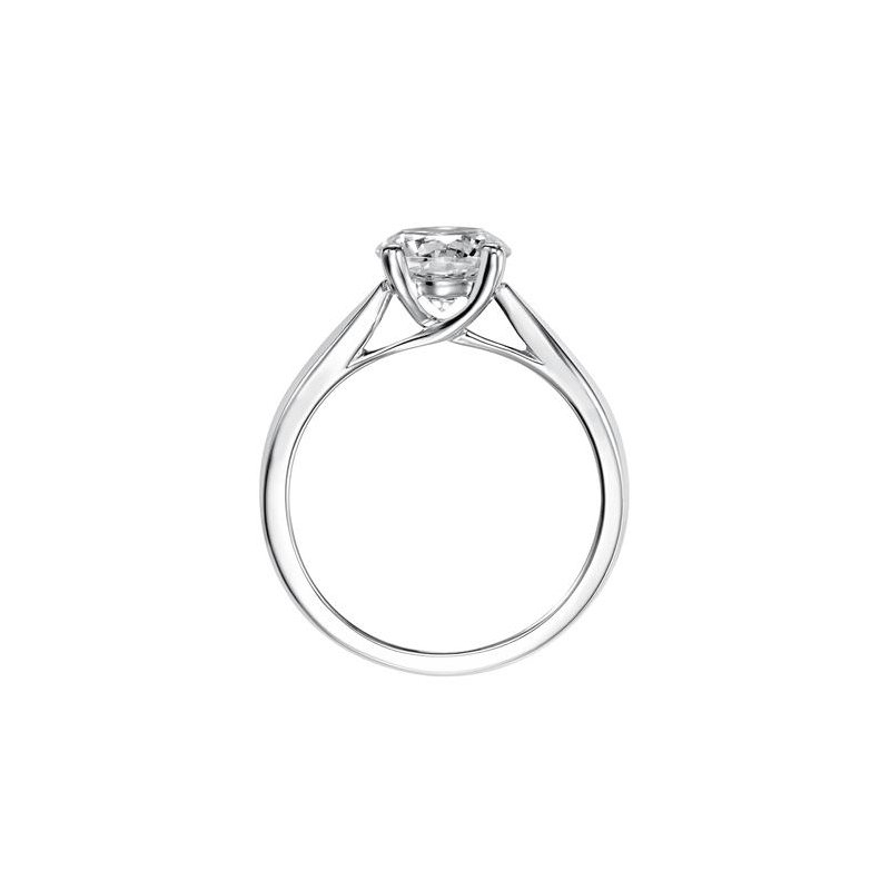 Diamond Solitaire Engagement Ring with a Delicate, High Polished Band