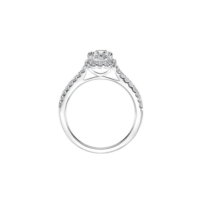 Timeless Engagement Ring featuring a diamond exquisitely enhanced with a prong set diamond halo and band