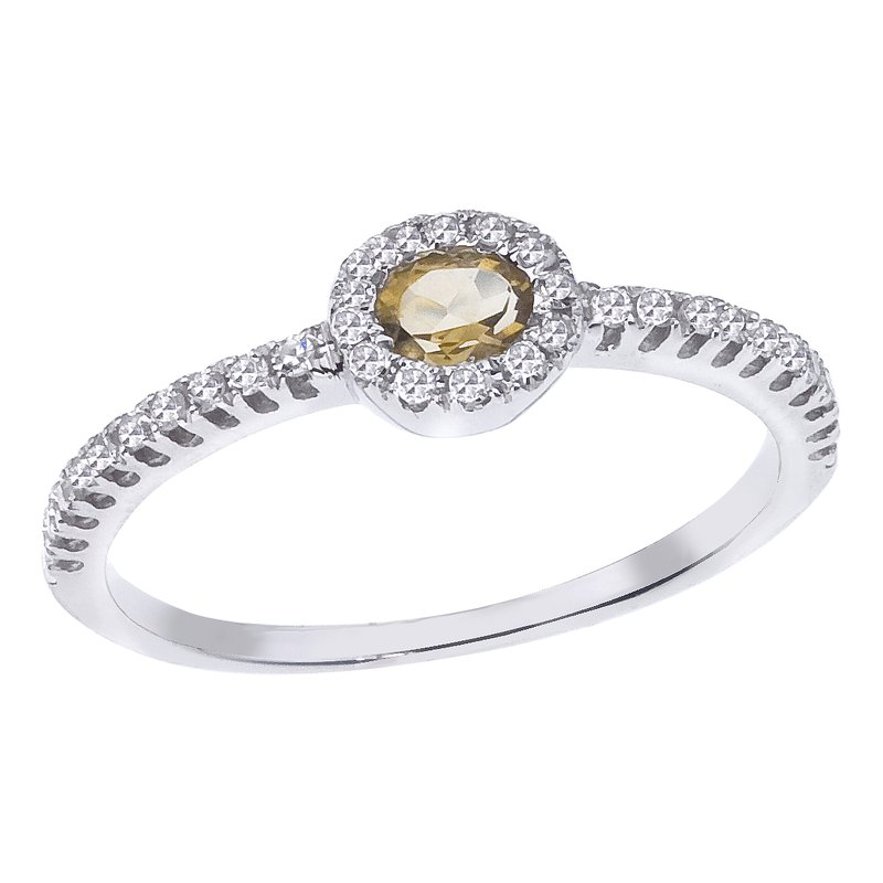 Stackable Citrine & Diamond Ring