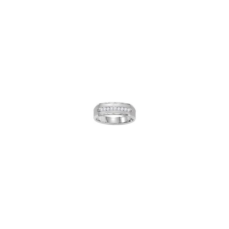 Gents Diamond Wedding Band in White Gold
