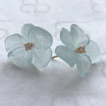 Hand Carved Aquamarine Earrings