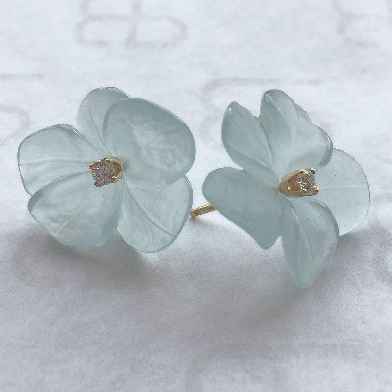 Hand Carved Aquamarine Earrings