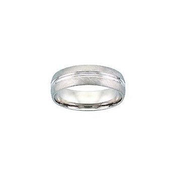 Crystaline Finish Wedding Band in White Gold