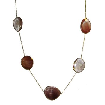 Carnelian and Quartz Slice Necklace