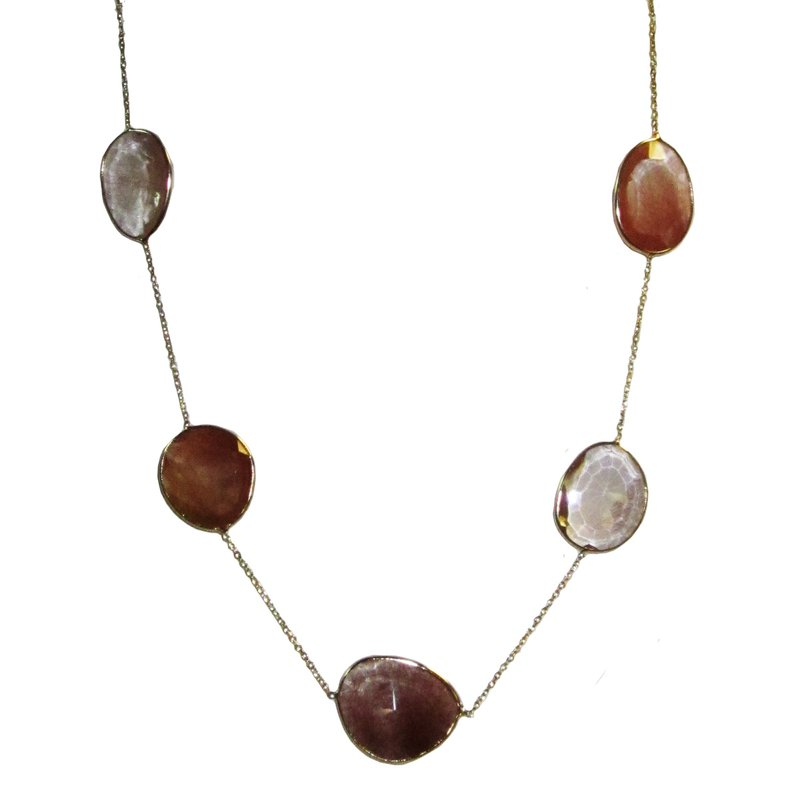 Carnelian and Quartz Slice Necklace