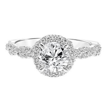 Spectacular Diamond Halo Engagement Ring with Twisted Diamond Shank
