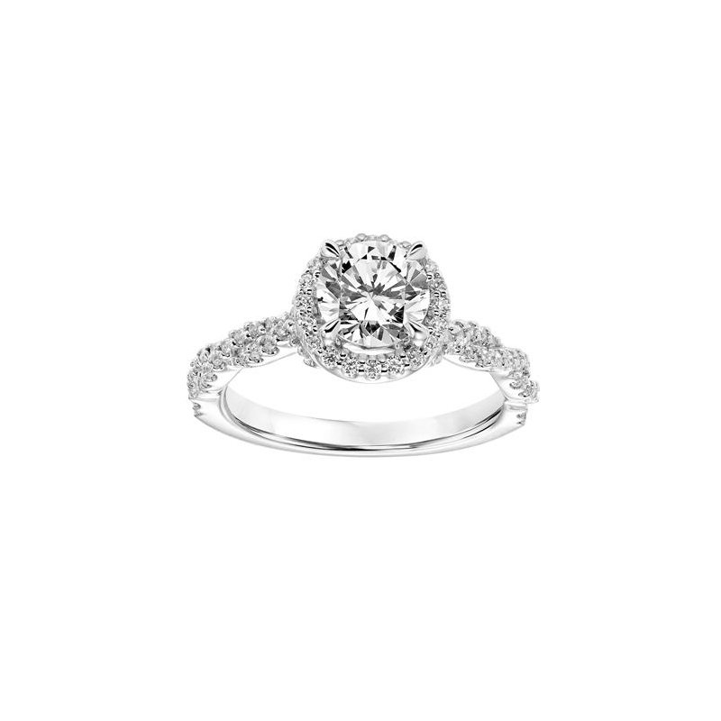 Spectacular Diamond Halo Engagement Ring with Twisted Diamond Shank