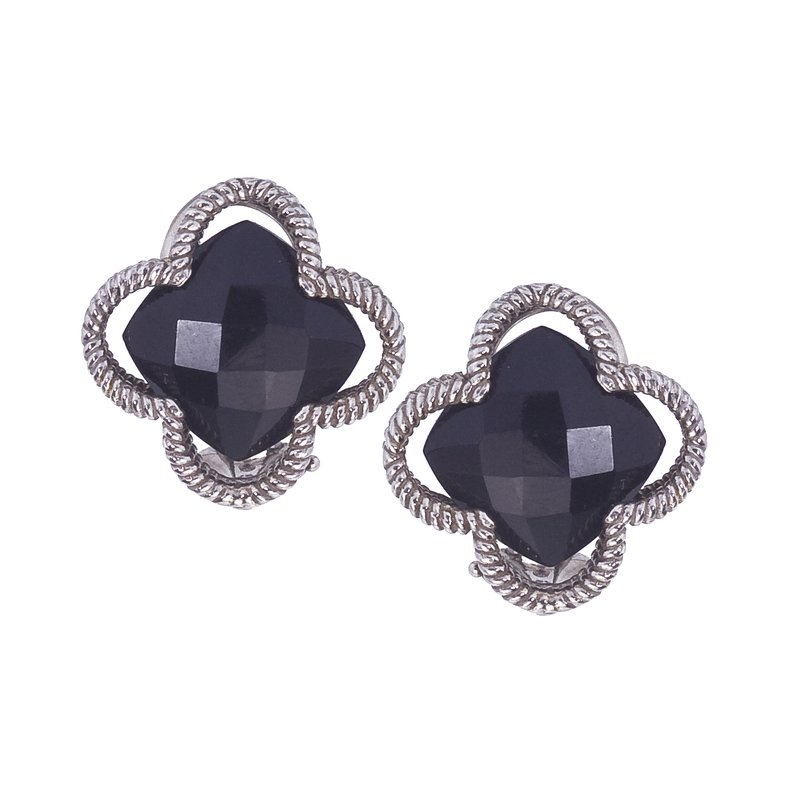 Sterling Clover Earrings with Black Onyx