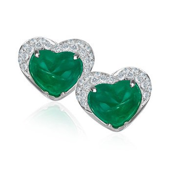 Cabochon Emerald & Micro Pavé Diamond Earrings