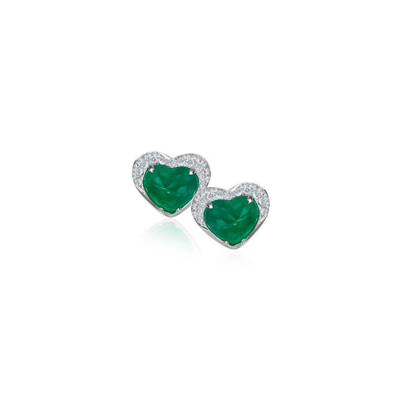 Cabochon Emerald & Micro Pavé Diamond Earrings
