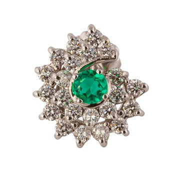 Emerald and Diamond Swirl Earring