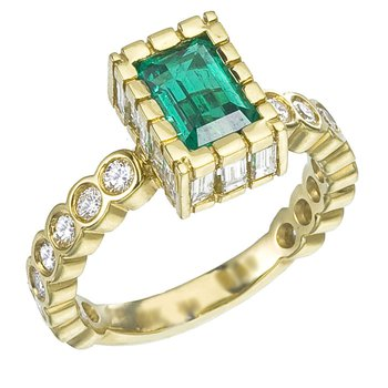 Custom Emerald Cut Emerald Set with Diamonds