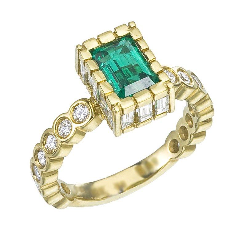 Custom Emerald Cut Emerald Set with Diamonds
