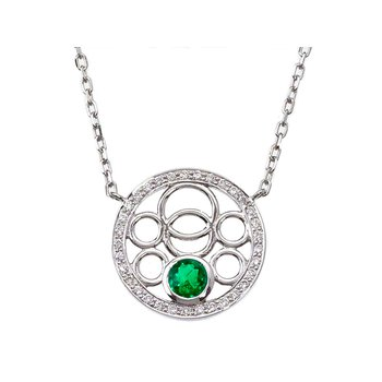 Emerald and Diamond Bubble Necklace