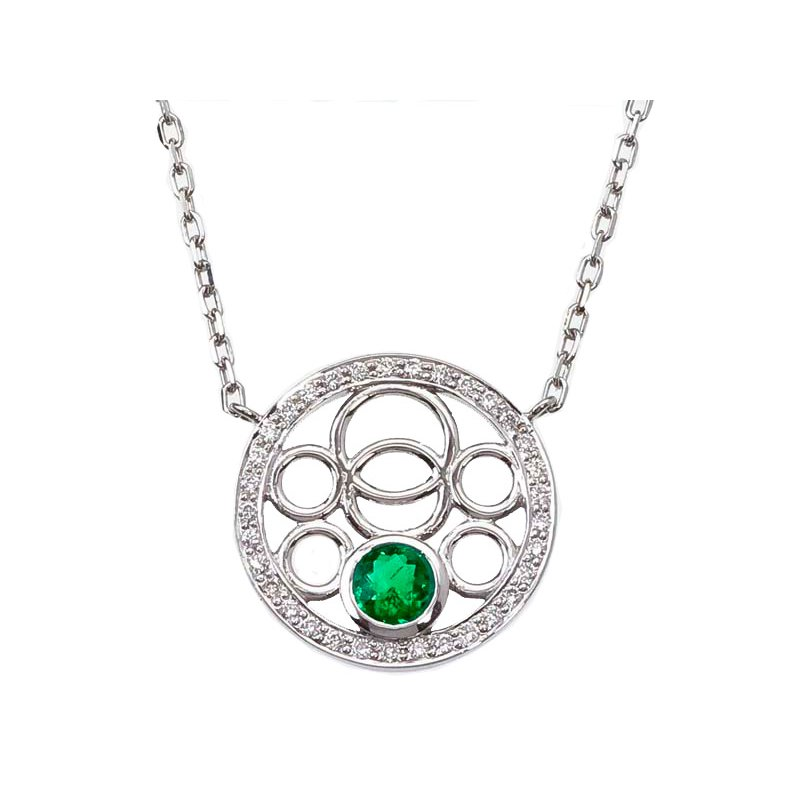Emerald and Diamond Bubble Necklace