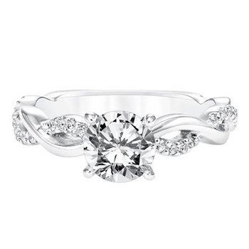 Diamond Prong Set Engagement Ring with Diamond Twisted Shank