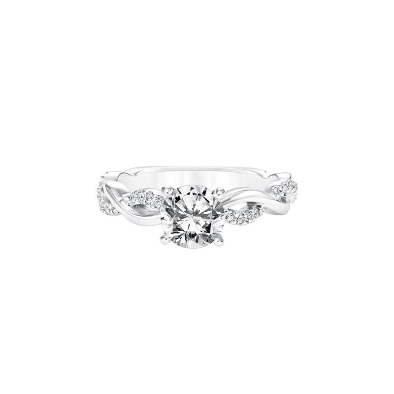 Diamond Prong Set Engagement Ring with Diamond Twisted Shank