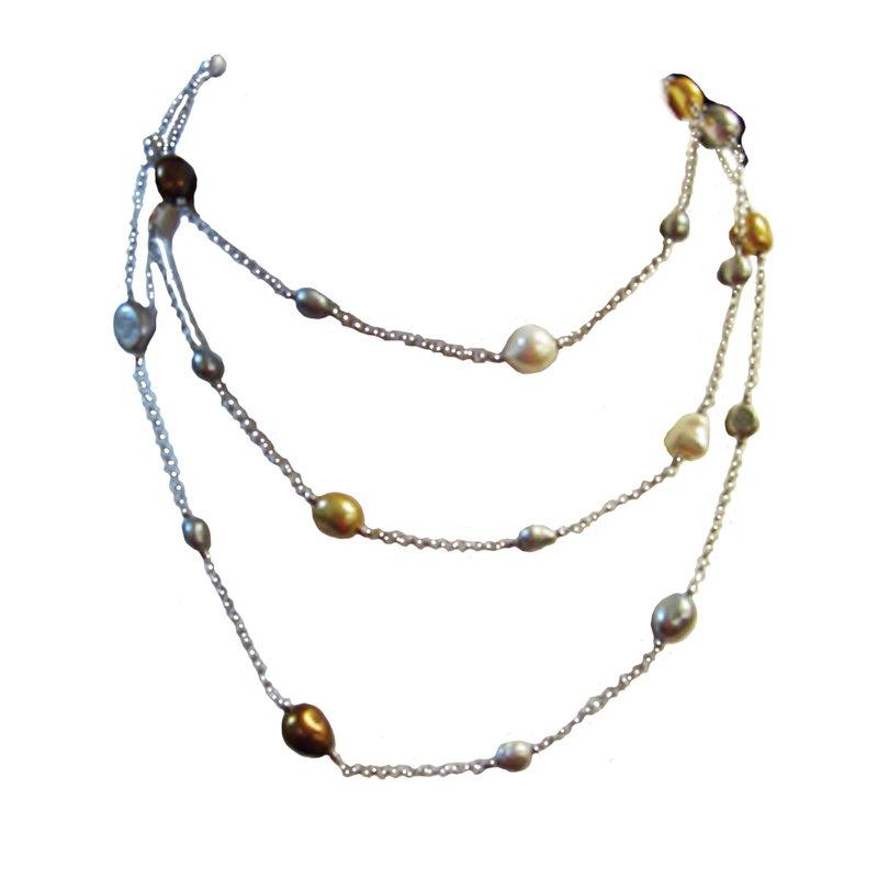 Triple Strand Multi Pearl Necklace