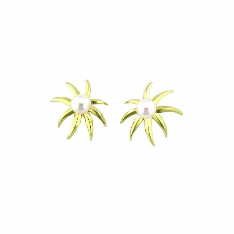 Gold Sunburst Earring with Pearl Center