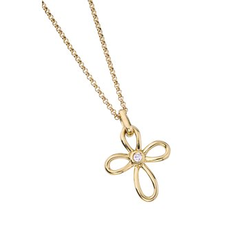 Gold Open Petal Cross Pendant