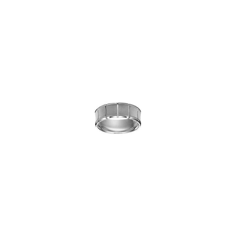 White Gold Band with Vertical Engraving