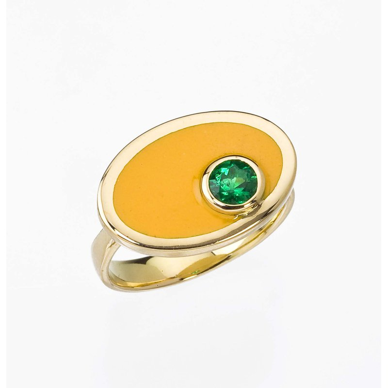Yellow Enamel and Emerald Ring