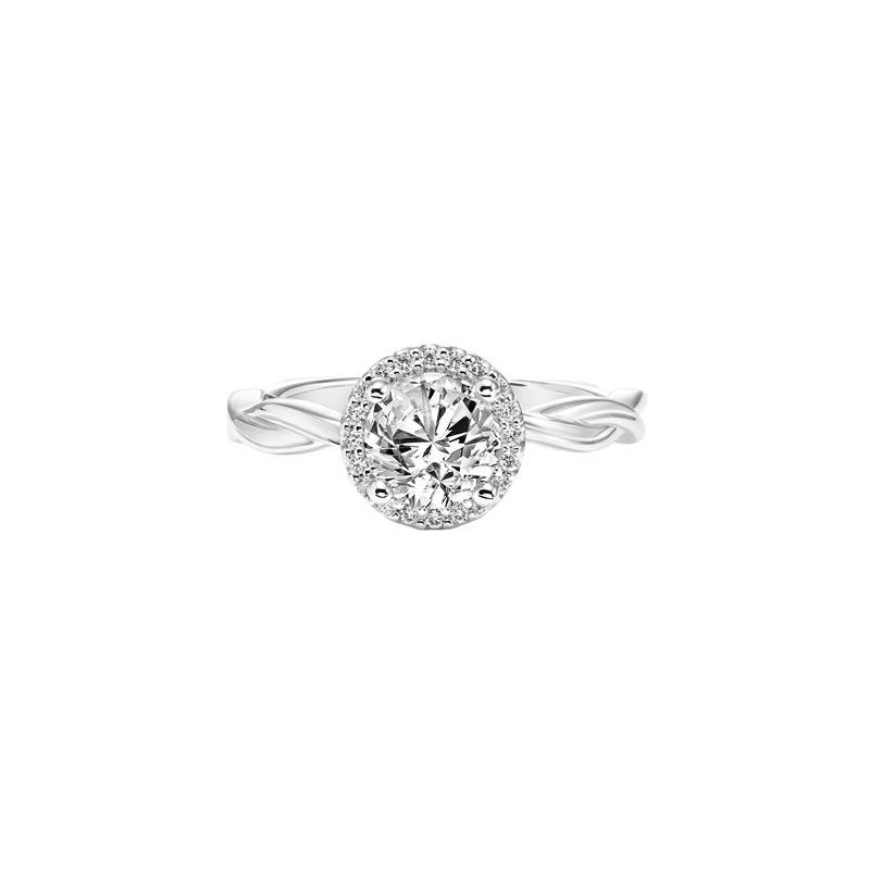Diamond Halo Engagement Ring with Twisted Polished Shank and Bezel Diamond in Gallery