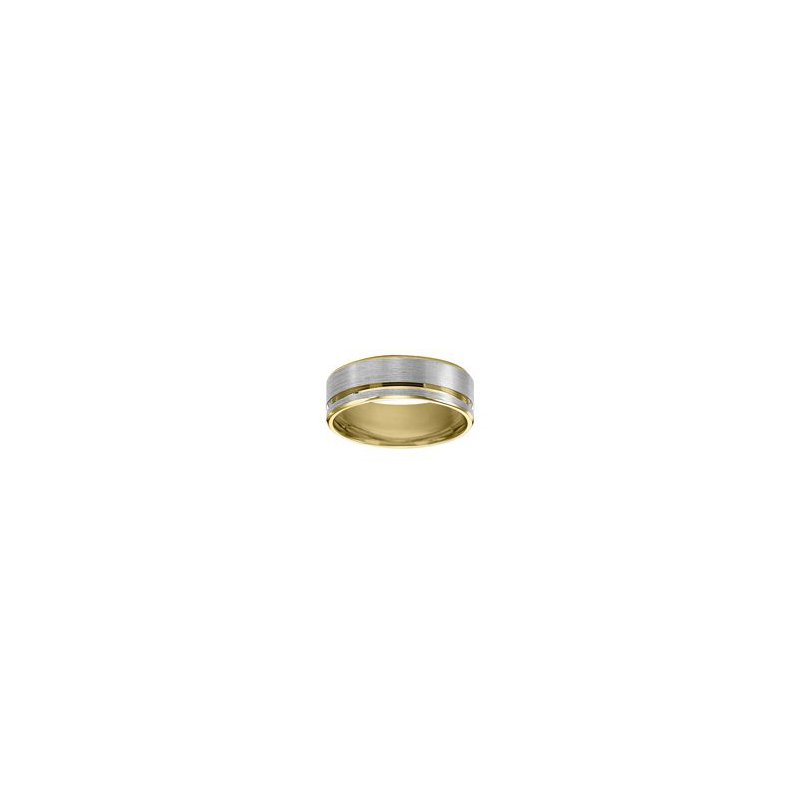 Satin White and Yellow Gold Wedding Band