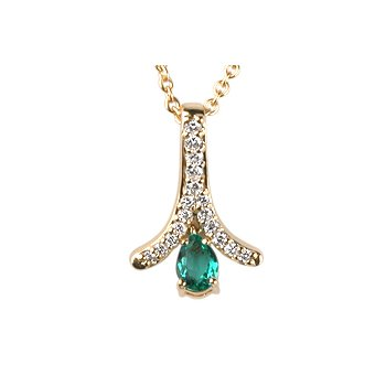Pear Shape Emerald & Diamond Zipper Pendant
