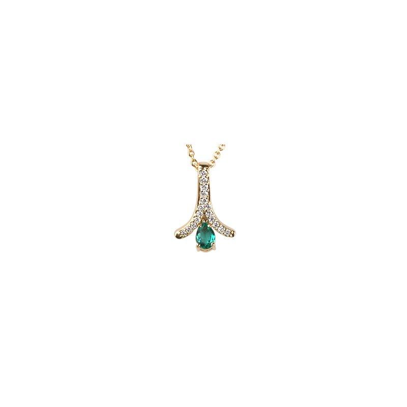 Pear Shape Emerald & Diamond Zipper Pendant