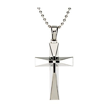 Large Stainless Steel Cross with Diamond