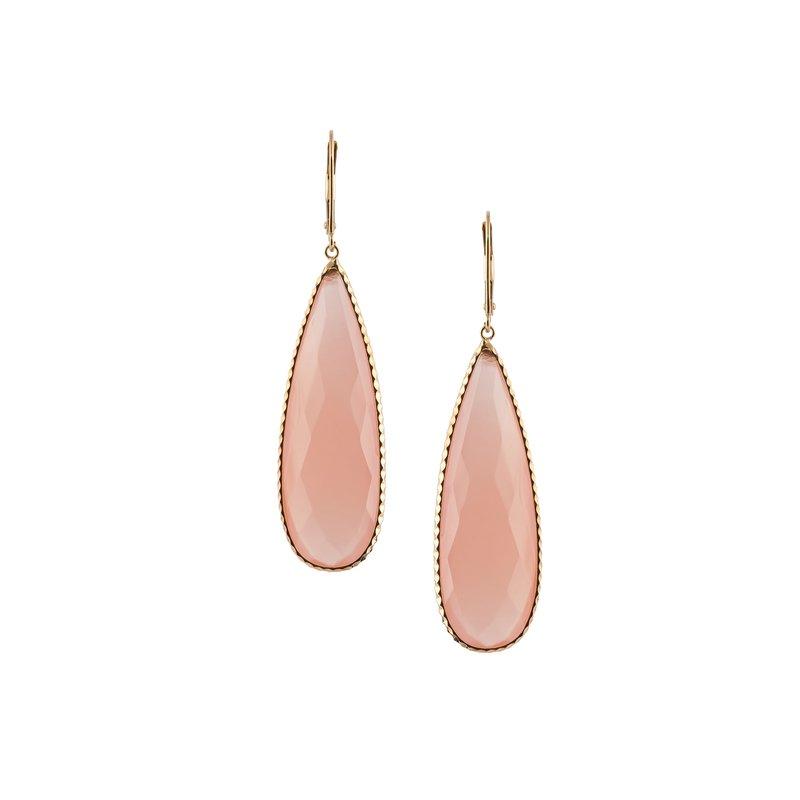 Long Pink Chalcedony Drop Earring