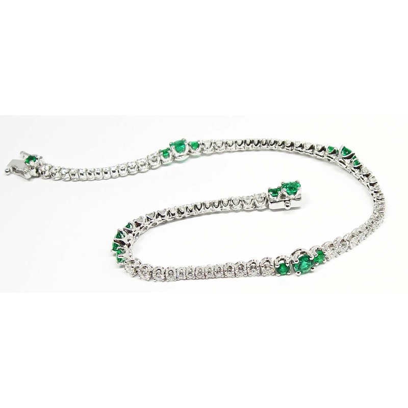 Emerald and Diamond Wave Line Bracelet