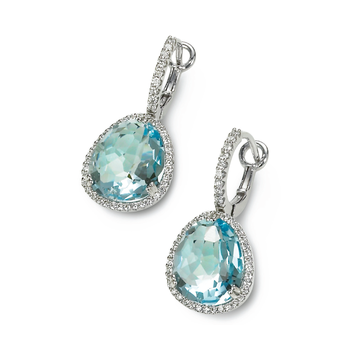 Candy Color Blue Topaz  and Diamond Earrings