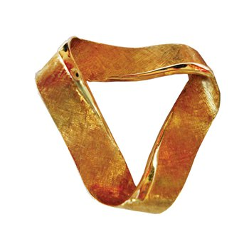Gold Florentine Ribbon Brooch