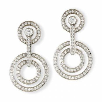 Diamond Double Circle Drop Earring