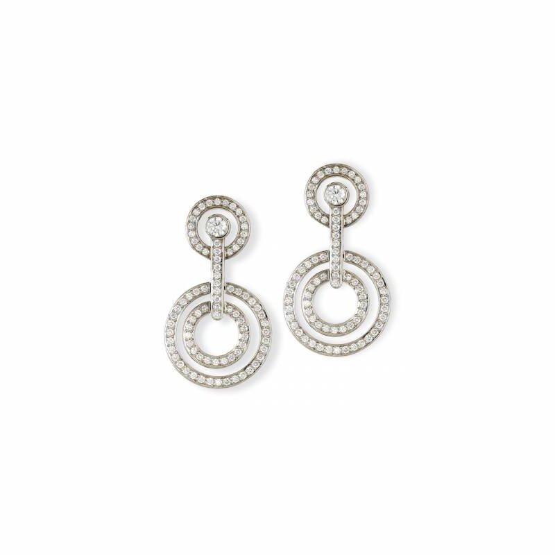 Diamond Double Circle Drop Earring