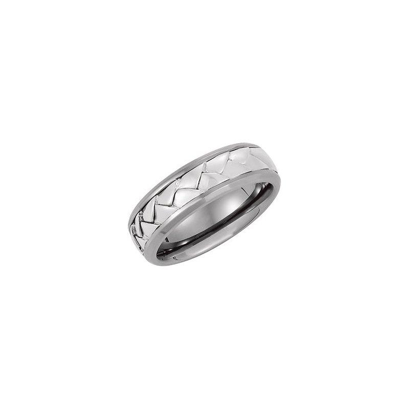 Titanium Band Sterling Silver Braid Inlay