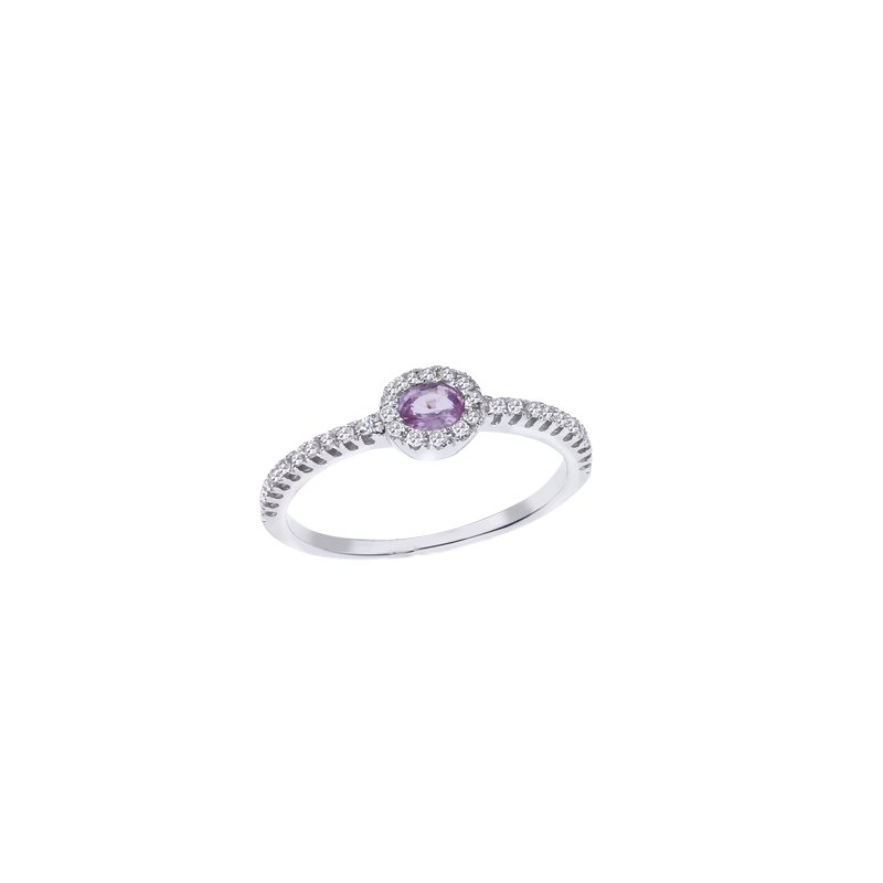 Stackable Pink Sapphire & Diamond Ring