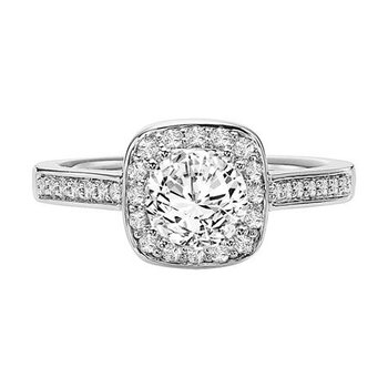 Prong Set Diamond Halo featuring rounded edges paired with a diamond band