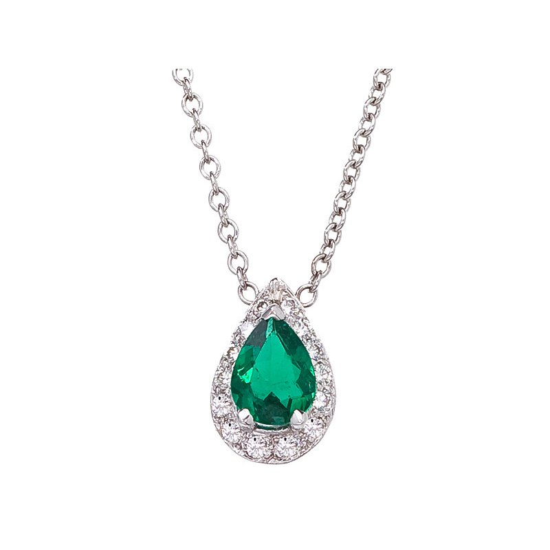 Pear Shape Diamond & Emerald Pendant