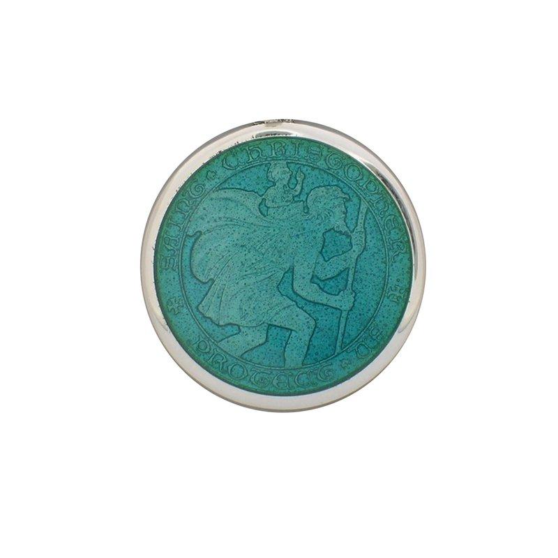 Aqua Small St. Christopher Medal