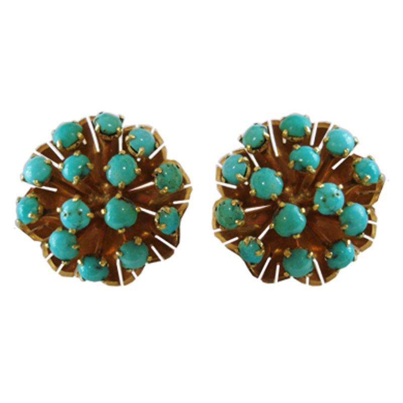 Estate Turquoise Starburst Earrings