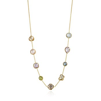 Faceled Multistone Bezel Necklace
