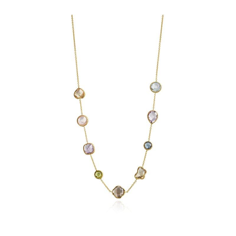 Faceled Multistone Bezel Necklace